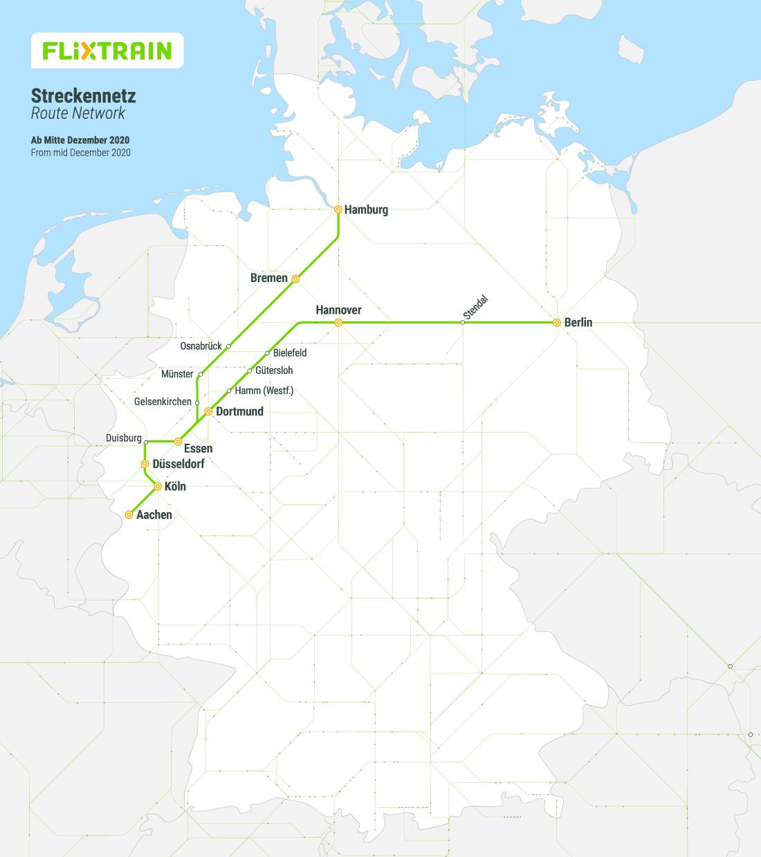 FlixTrain Zugverbindungen und Streckennetz ab Mitte Dezember 2020